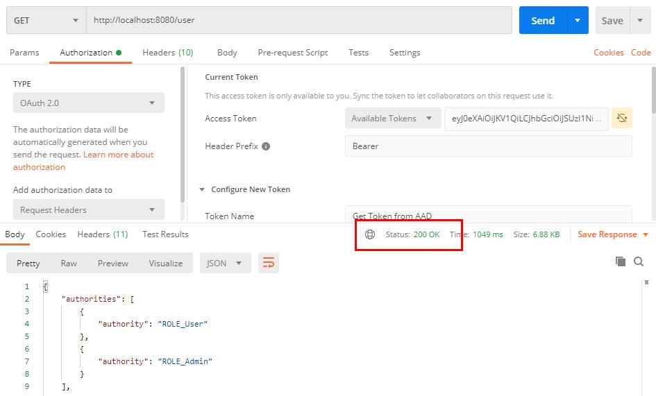 Réponse HTTP de la requête vers la Web API