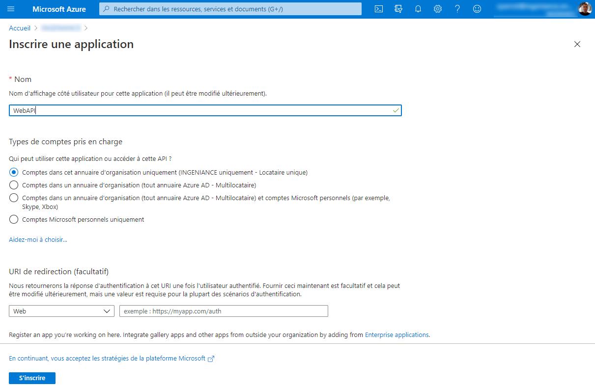 Inscrire une application dans Azure Active Directory